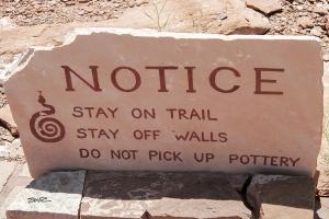 Najavo Ruins Warning